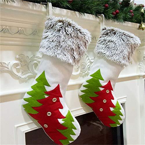 OD.zepp Kerst Sock Geschenken Kerstmis Boom Decor Kousen,2 Stks Kerstboom Print Open haard Hangende Sokken voor Familie Vakantie Kerst Decoraties