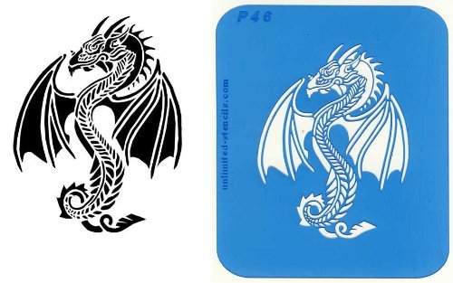 UNLIMITED STENCILS 1 XL Airbrush Tattoo Schablone DRACHE # 46
