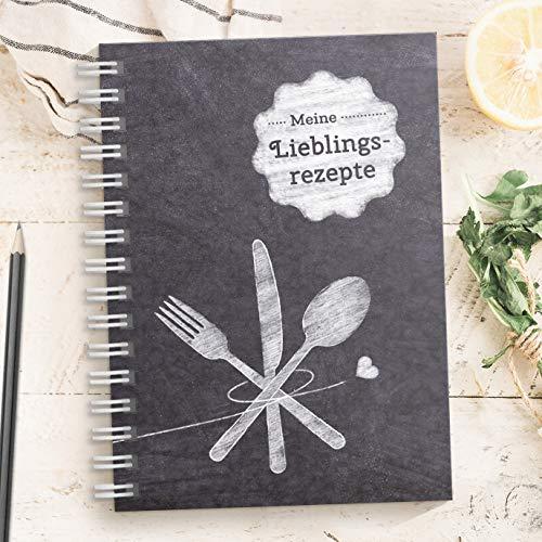 DIY Rezeptbuch zum selberschreiben TAFEL – Meine Lieblingsrezepte – Modernes DIN A5 Kochbuch zum selbstgestalten mit Inhaltsverzeichnis, Register und Schutzfolie (Made in Germany)…