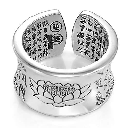 RXISHOP Anillo abierto de plata S999 para hombres y mujeres, diseño de corazón de loto sutra hechizo retro de moda anillo de boda novio padre de la suerte