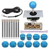 Mopei Arcade Game fai da te Parts Kit Ritardo Zero USB Encoder Joystick Pulsante Kit fai da te per Arcade Games Machine e Altri Giochi per PC Combattimento (Blu)