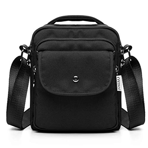 Crossbody Bag for Women, JOSEKO Mini Nylon Crossbody Travel Messenger Organizer Purse handbag Lightweight Pocket Bag Black medium