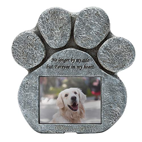 EXPAWLORER Pet Paw Memorial Stone with a Photo Frame and Sympathy Poem, Pet Loss Gigts in Garden...