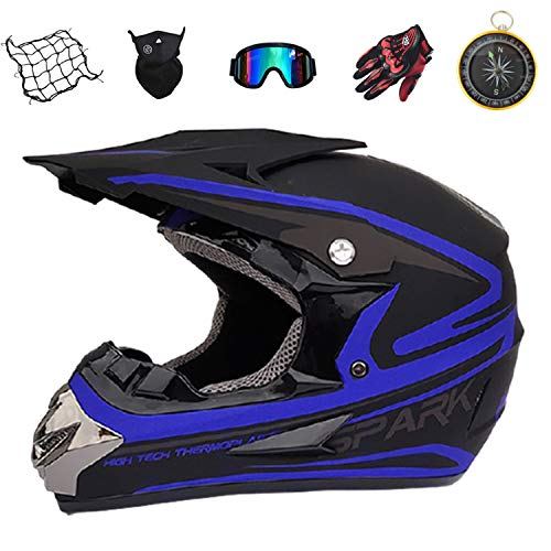 IURIMA Motorcycle Helmet,Fashion Youth ATV Motocross Dirt Bike BMX MX Downhill Off-Road Mountain Bike Helmet DOT Approved (Gloves, Goggles, Mask, 6 Piece Set) ((59-61) S)