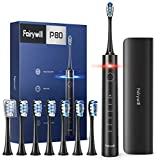 Electric Toothbrush with Pressure Sensor, Fairywill PRO P80 Quieter Sonic Whitening Electric Toothbrushes for Adults, USB Rechargeable with 5 Modes, Smart Timer, 8 Heads and 1 Travel Case Included