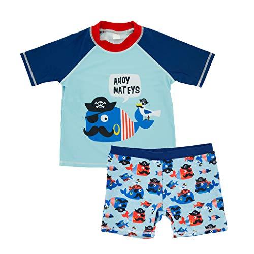 Sunnymi - Conjunto de ropa de baño para niños de 1 a 7 años, de látex, con diseño de dibujos animados azul celeste Talla:4-5 años