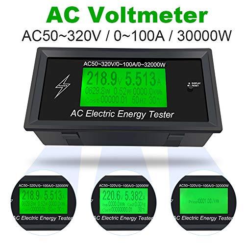 AC AC Power Meter Panel Digital Voltmeter Panel Display AC50-320V 100A 3K KW Startseite Hochspannungsprüfer Anzeige Power Energy Voltmeter Amperemeter Stromamps Volt Watt Meter Tester Detektor