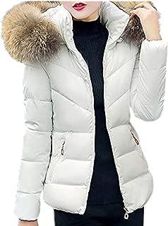 Opinionated Women Winter Warm Faux Fur Hooded Zipper Short Slim Cotton-Padded Jackets Coat Lightweight Puffer Coat