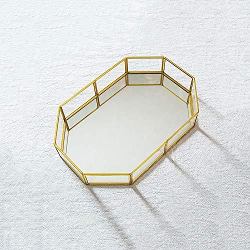 Hpiyig Nordic Home Sieradenmagazijndienblad, slaapkamer-kamer-decoratie, gouden 8-hoekige opbergdoos, opbergvak, spiegel-onderkant met flanel - groot
