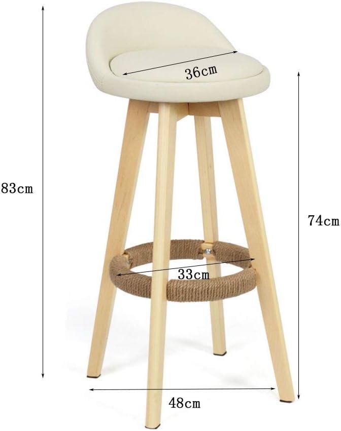 Président WGZ- Tabouret de Bar en Bois Massif Tabouret de Bar rétro Tabouret Haut Rotatif Chaise de Bar Creative Chaise Haute pour Maison Simple (Color : Brown, Style : A) White