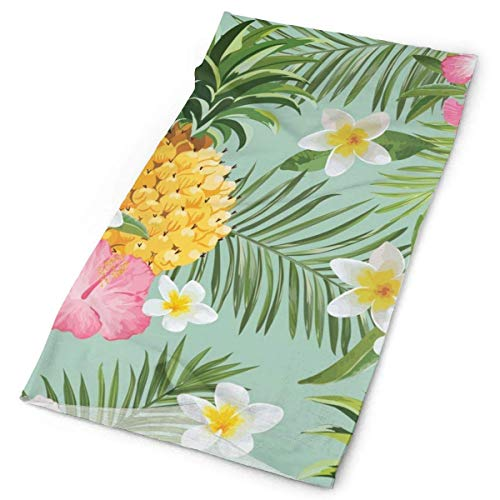 show best Unisex Hawaiian Pineapple Flowers Floral Double Sided Print Variety Scarf Headbands Bandana Magic Headband Elastic Seamless Bandana Headwear Head Scarf 9.8 X 19.5 Inch