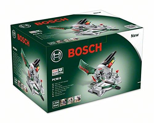 Bosch DIY Kapp- und Gehrungssäge PCM 8, Arbeitsklemme, Kreissägeblatt Optiline Wood, Staubbeutel, Karton (1200 W, Kreissägeblatt Nenn-Ø  216 mm) - 6