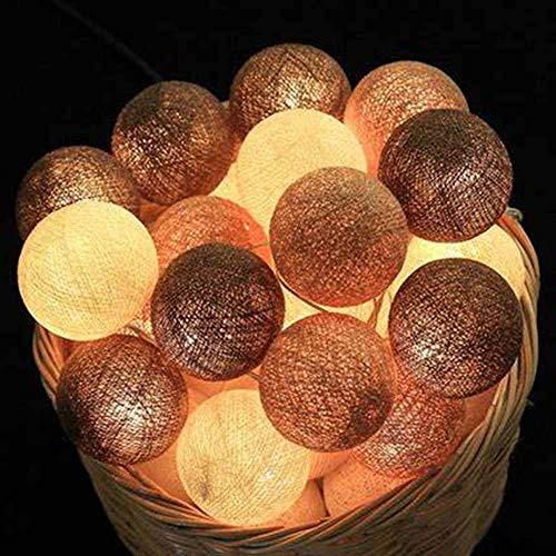 Hiser Luces De Bolas De Algodón Cadena de Luces, Bola de algodón de 6 cm Batería Lámpara de Guirnalda Luminosa Hogar, Jardín, Fiesta, Boda, Navidad Decoración (Gris Blanco,5M-50LED)