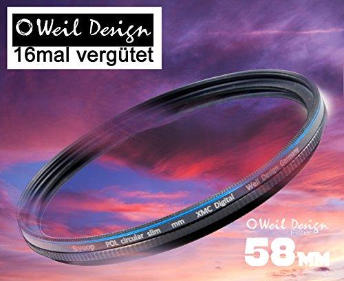 Polfilter POL 58 Circular Slim XMC Digital Weil Design Germany SYOOP * Kräftigere Farben * mit Frontgewinde, 16 Fach XMC vergütet * inkl. Filterbox * zirkulare (58 mm)
