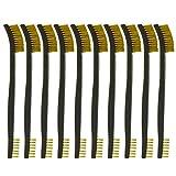 Motanar 10-Pack Double-Ended All Purpose Gun Cleaning Brushes 7' inch Brass Steel Nylon Bristle Brushes (Brass)