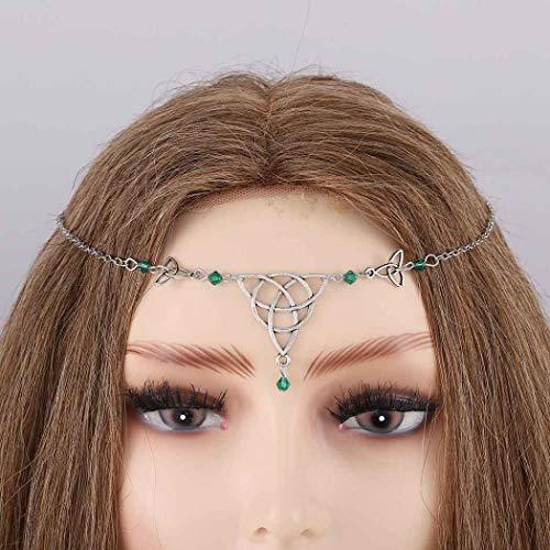 Bomine Boho Head Chain Crystal Hair Chain Forehead Festival Wedding Headpieces Hair Acessories for Women and Girls (Green)