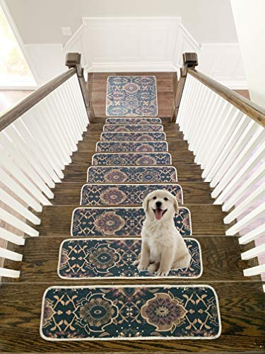 Benissimo Stair Treads Carpet, Landing Latex Non Slip Stair Rugs, Cotton, Modern Printed Design, Vibrant and Soft Stair Runner for Indoor Wooden Steps, Set of 13 (9'x32')+ 1 (31'x31'), Dark Brown