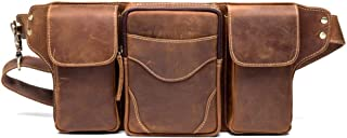 Waist Bag - Top Layer Cowhide Leather Purse, Retro Men's Chest Bag, Outdoor Sports Bike Bag/Handmade, Large Capacity, Brown 32 * 4 * 18. Cool
