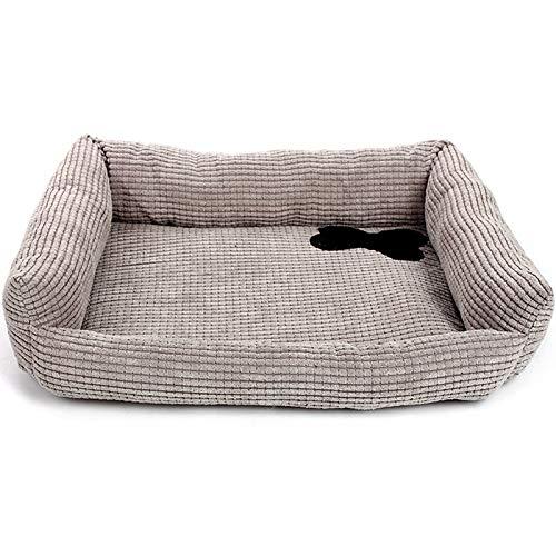 DOGKLDSF Hundebett Cord Knochen Winter Warm Hundebett Grau Haustier Chihuahua Nest Mat All Season Weiche Baumwolle Welpen Katze Schlafsofa für kleine Hunde, 45x35x10cm