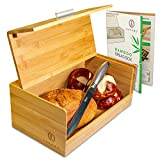 Bamboo Bread Box. Rustic Yet Elegant Wooden Breadbox for Kitchen. Under Counter Bread Box Keeps Baked Goods Fresh. Natural Wood Bread Boxes for Kitchen Counter. Breadboxes Wooden [Fully Assembled]