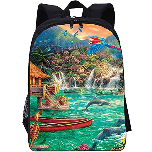ZFWEI Mochila para portátil Delfín loro para adolescentes, bonita mochila con estampado, mochila para ordenador portátil, mochila informal de viaje para mujer