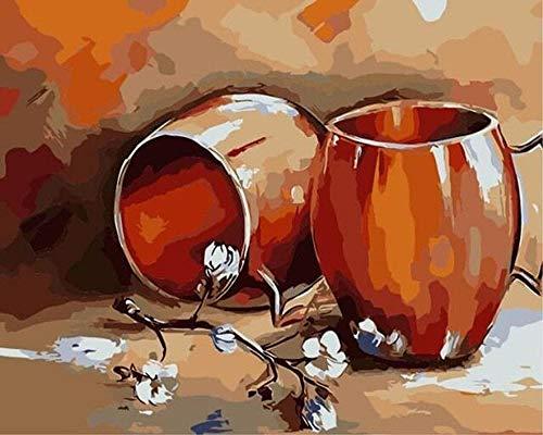 ZhangXF Dipingi per Numero Pentola in Terracotta DIY Pittura a Olio per Adulti Bambini Dipinto ad Olio su Tela con Pennelli e Pigmento Acrilico 40x50 cm(Senza Telaio