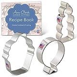 Ann Clark Cookie Cutters Juego de 3 cortadores de galletas cumpleaños con libro de recetas, globo, pastelito y vela