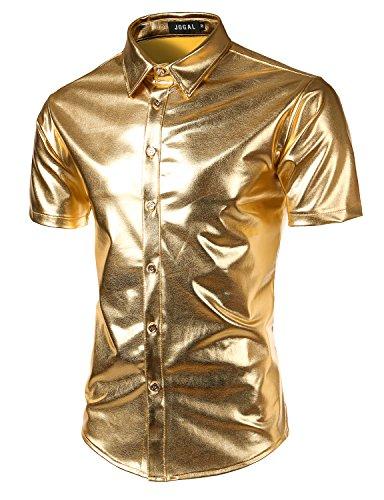 JOGAL Men's Dress Shirts Nightclub Metallic Silver Short Sleeve Button Down Shirts Large Gold