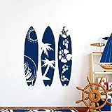 Calcomanía de pared Calcomanías de tablas de surf Olas Mar Playa Vinilo Adhesivo Deportes extremos Guardería Niños Dormitorio Decoración para el hogar Regalo para niño 01 blanco 57X68 CM