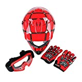 SLMOTO Dot Youth & Kids Motocross Offroad Street Helmet Motorcycle Helmet Dirt Bike Motocross ATV Helmet+Goggles+Gloves Red Spider Design