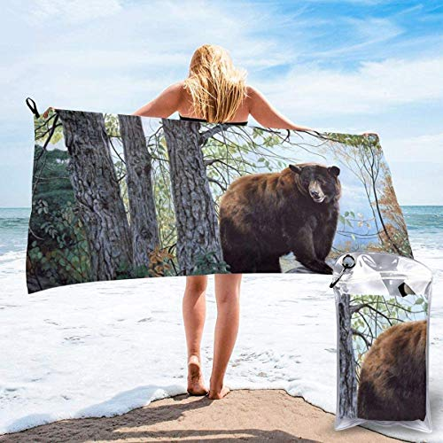 Toalla de Playa 27.5 'X 55',Bear Forest Trees Arena Ultra Suave Microfibra Portátil Absorbente de Agua Microfibra múltiple Manta de Toalla de Playa sin Arena