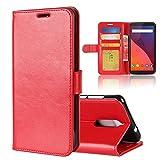 XMTN Wiko View 5.7' Coque,Flip Coque Ultra-Mince PU Étui en Cuir Housse pour Wiko View Smartphone (Rouge)