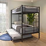 Metal Bunk Bed with Trundle,Twin Over Twin Bunk Bed Frame,Heavy Duty Bunk Beds with Safety Guard Rails and 2 Side Ladders for Adults Children Teens (Black A, Twin with Trundle)