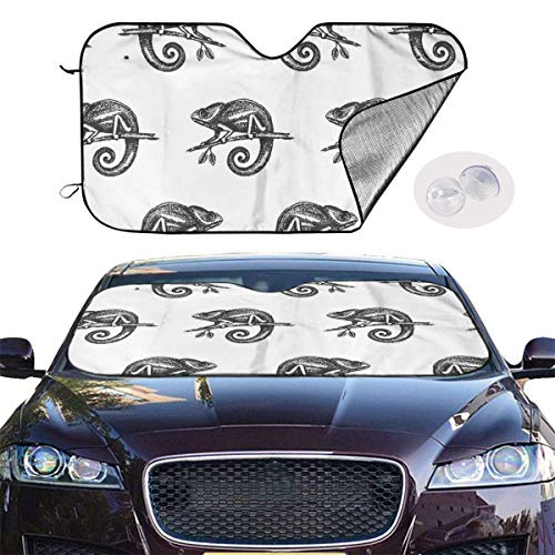 mchmcgm Sonnenschirm Abdeckung Chameleon Hand Drown Sketch Auto Windwhield Sun Shades Universal Fit 51.2 X 27.6 Inch Window Keep Your Vehicle Cool Visor for SUV Sunshade Cover