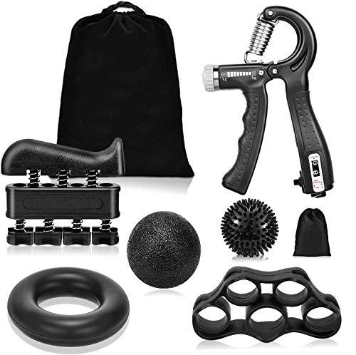 PULNDA Grip Strength Trainer, Hand Grip Strengthener 6 Pack Forearm Grip Adjustable Strength Trainer Finger Exerciser & Stretcher Grip Ring Massage Ball & Stress Relief Ball, Black