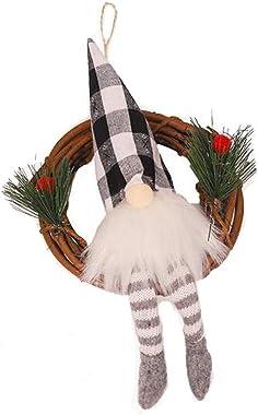 amousa 1PCS Christmas Rattan Ring Pendant Home Christmas Window Decoration,Forester Dolls Christmas Wreath,Door Decor Pendant