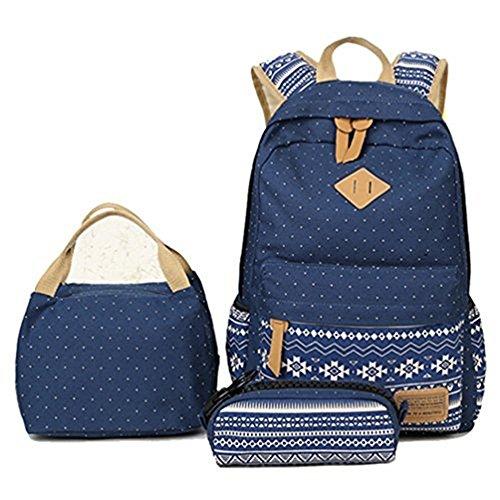 HITOP Damen Mode Geometrie Tupfen Beiläufige Segeltuch Rucksack + Lunch Taschen + Stiftemappe Feder Beutel verdreifachen Set, für Teen Girls Boys (Navy)