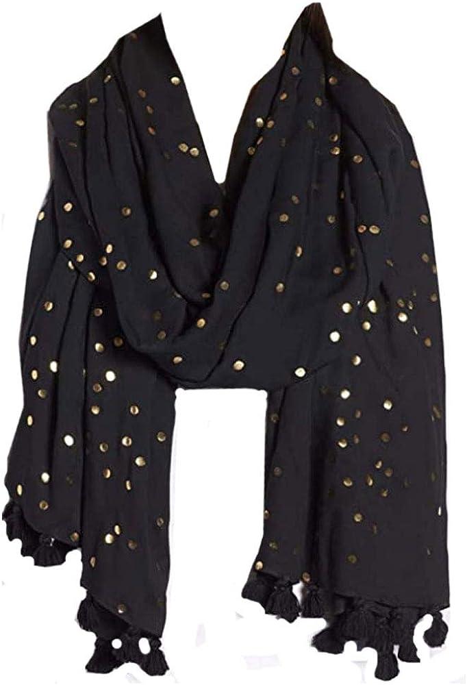 Kate Spade New York Confetti Dot Foil Black Gold Oblong Scarf