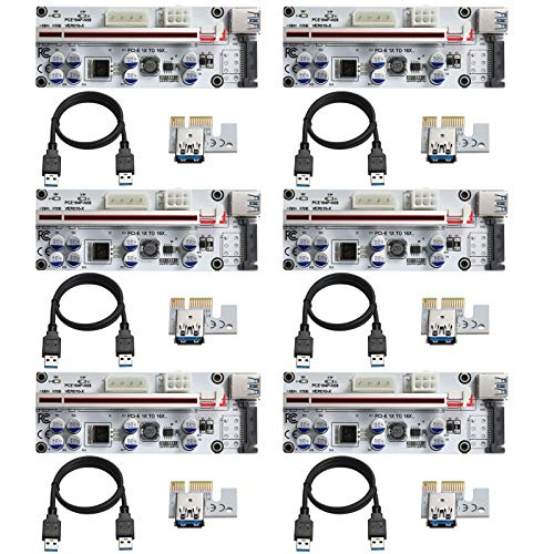 BEYIMEI PCI-E 1x a 16x GPU Riser– VER010-X Tarjeta de expansión – 60cm Cable de extensión USB– 3 Opciones de alimentación (6PIN/ SATA/4 Pin) Tarjeta gráfica GPU Crypto Moneda minería (6 Packs)