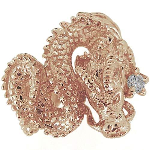 [プレジュール]ダイヤモンド リング メンズ 龍 ドラゴン 指輪 4月 誕生石 ピンクゴールド K18 18K 18金
