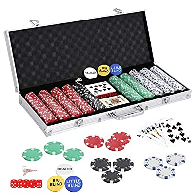 Nova Microdermabrasion Poker Chips Set for Texas Holdem, Blackjack, Gambling 300/500 Dice Casino Chips 11.5 Gram with Aluminum Case (500 Chips)