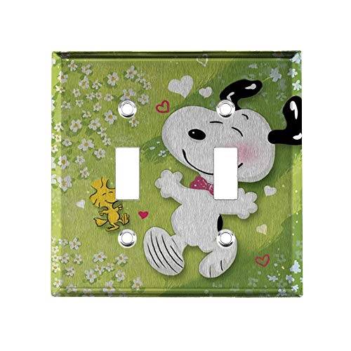 YCLL Happy Snoopy Decor Light Switch Plate, Double Toggle Switch Wall Plate Outlet Covers, Standard Size 4.6x4.5 in