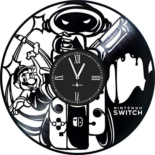 Wall Clock Vinyl Compatible with NINTENDO-12 inch - Made in Europe -Precision Silent Quartz Movement -The Best Gift for Gamers-Original Design- Home Decoration