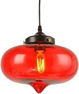 Huahan Haituo Żyrandol ze szkła wielokolorowy przemysłowy retro klosz w kształcie dużych kropli (czerwony)