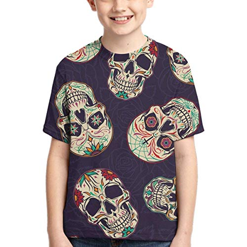 XCNGG Niños Tops Camisetas Youth Short Sleeve T-Shirts Dead Flowers Skulls Kids Casual Graphics Tees