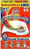 Grey L'Acchiappacolore Fogli Cattura Colore Lavatrice Evita Incidenti Lavaggio, Foglietti Acchiappacolore e Anti-Sporco, Confezione 60 Fogli