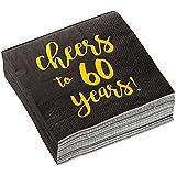 Tovaglioli di carta da cocktail in lamina dorata per 60 anni, confezione da 50 pezzi, colore: nero