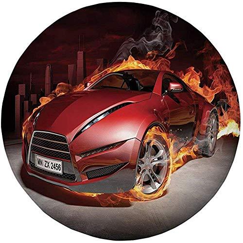 W-WEE Runder Teppich Matte Teppich, Autos, Roter Sportwagen Burnout Reifen In Flammen Flammender Motor Heißes Feuer Rauch Auto, Rot Schwarz Orange
