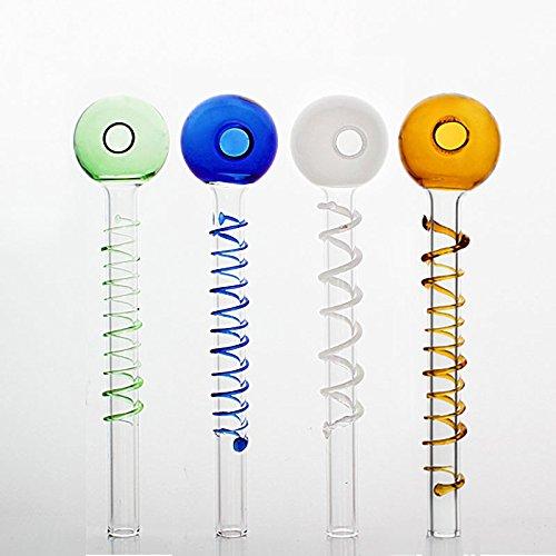 Dalong Glass Herramienta de tuberías de aceite para fumar hecha a mano, 5 unidades, colorido