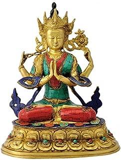 Gangesindia Avalokiteshvara Four Armed Brass Figure (34.93 cm, 29.21 cm, 20.96 cm)